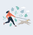 woman running with dog on vector image vector image