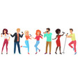 young people stars with microphones singing and vector image vector image