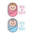 its a girlboy card baby shower greeting vector image