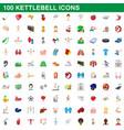 100 kettlebell icons set cartoon style vector image