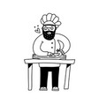 a cute kind chef in cap cutting vegetables vector image vector image