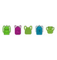 backpack icon set color outline style vector image