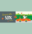 banner with cute rat and promotion text vector image