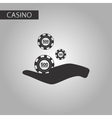 black and white style Casino chips in hand vector image