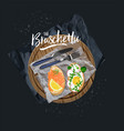 bruschetta with salmon and bruschetta with egg vector image vector image