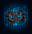 carnival or theater mask on blue shimmering vector image vector image