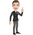 cartoon businessman showing thumbs up sign vector image vector image