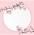 cherry blossom on round paper vector image vector image