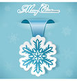 christmas sticker with snowflake vector image vector image
