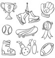 collection sport equipment doodle hand draw vector image