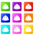 construction helmet icons 9 set vector image vector image
