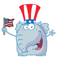 Elephant Waving An American Flag vector image