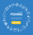 fishing signs round design template thin line icon vector image vector image
