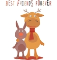 Greeting card for friend with deer and rabbit vector image vector image
