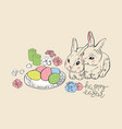 happy easter rabbit hare bunny and eggs hanging vector image vector image