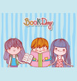 little girls and boy with books cartoon striped vector image