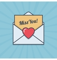 Miss You letter with heart shape in flat style