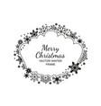 monochrome snowflake frame christmas design vector image