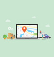 online delivery service with laptop and gps pin vector image