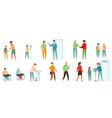 people characters wearing medical face mask vector image vector image