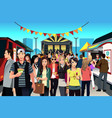 people in street food festival vector image vector image