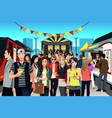 people in street food festival vector image
