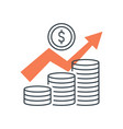 pile coins and growing graph vector image vector image