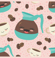 pink happy coffee seamless pattern vector image vector image
