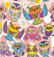 Seamless pattern sketch Owls on a pink background vector image vector image