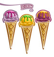 set of ice cream in waffle cone vector image vector image