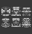 shooting club hunting and gun shop icons vector image vector image