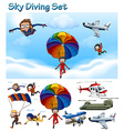 Sky diving set with people and equipment vector image