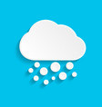 snow and cloud icon in paper style on blue vector image vector image