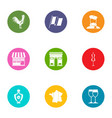 territory icons set flat style vector image vector image