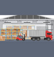 warehouse interior with workers arranging vector image vector image