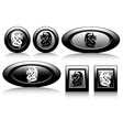 web button with dragons black and white vector image vector image