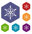 Wheel of ship icons set vector image vector image