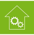 White and green house with gear wheels vector image vector image