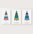 winter holidays colorful fir tree cards set vector image