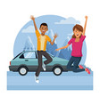 young couple happy and jumping vector image