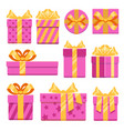 pink gift boxes with ribbon bows icons set vector image