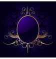 Royal purple background with golden frame vector image