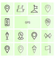14 gps icons vector image vector image