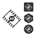 3D movie icon set monochrome vector image vector image