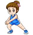A Caucasian girl exercising vector image