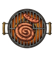 Barbecue grill top view with charcoal and sausage vector image vector image