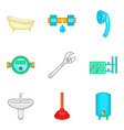 bathroom cleaning icon set cartoon style vector image