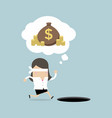 blindfolded businesswoman running to find money vector image vector image