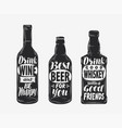 bottle with alcoholic drink and motivating vector image vector image