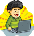 boy playing laptop vector image vector image
